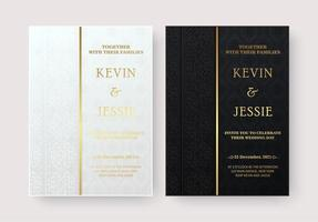 elegante Hochzeitseinladungen mit stilvollen dekorativen Musterentwürfen vektor