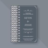 elegant bröllopsinbjudan med mönster motiv vektor