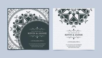 elegant bröllopsinbjudan med mandala stil design vektor