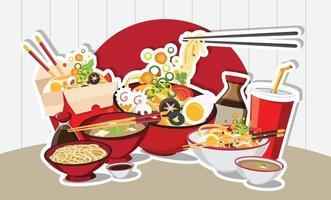 kinesisk mat, japansk ramen asiatisk matdesign vektor