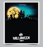 halloween nattfest bakgrund med fullmåne vektor