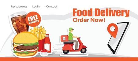 Lebensmittel-Lieferservice, Roller-Lieferservice, Vektor-Illustration