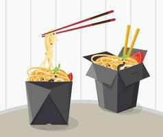 chinesisches Essen zum Mitnehmen Box Design vektor