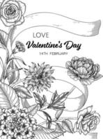 handritad blommig alla hjärtans dag bakgrund. vektor