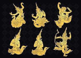 traditionelles thailändisches Kunstset vektor