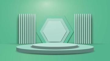Bühnenhintergrund, grünes Podium für Produktausstellungsstand. vektor