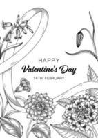 Hand gezeichnete Blumen Valentinstag Hintergrund. vektor