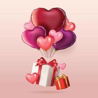 glad Alla hjärtans dag banner med ballonger vektor