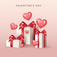 glad Alla hjärtans dag banner. semester bakgrundsdesign med stort hjärta av rosa, röda hjärtan på svart tygbakgrund. horisontell affisch, flygblad, gratulationskort, rubrik för webbplatsen. guld metallisk text kärlek, realistiska röda ballonger. vektor illustration