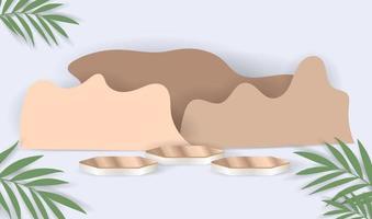 Holzpodest und Blätter auf einem weißen Hintergrund. vektor