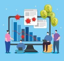 personer med infografik över ekonomisk återhämtning i datorn vektor