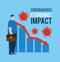 Mann mit Infografik von Coronavirus wirtschaftlichen Auswirkungen Ikonen