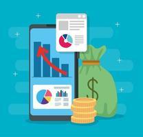 Infografik der finanziellen Erholung im Smartphone und in den Symbolen vektor