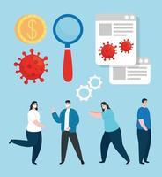 uppsättning ikoner med ekonomisk påverkan av coronavirus vektor
