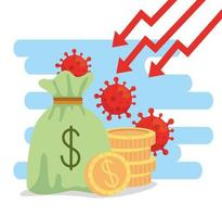 pengar väska och ikoner av coronavirus ekonomiska effekter vektor