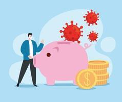 Mann mit Coronavirus wirtschaftlichen Auswirkungen Symbole