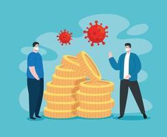 Männer mit Coronavirus-Symbolen für wirtschaftliche Auswirkungen