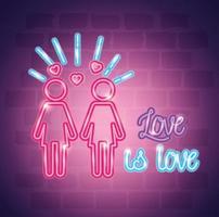 pride day neonljus med etikett kärlek är kärlek vektor