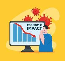 Mann mit Infografik im Computer von Coronavirus wirtschaftliche Auswirkungen