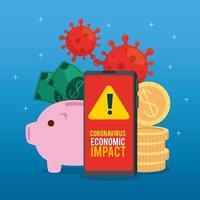 Smartphone mit Coronavirus-Symbolen für wirtschaftliche Auswirkungen