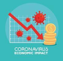 infografik över ekonomisk inverkan på coronavirus vektor