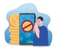 Mann mit Smartphone und Ikonen des Coronavirus wirtschaftliche Auswirkungen