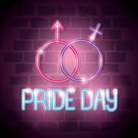 pride day neonljus med könssymboler vektor