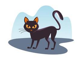 Halloween schwarze Katze isolierte Ikone vektor