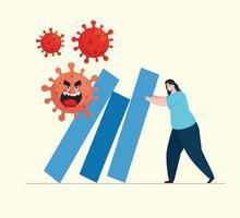 kvinna med infografik av coronavirus ekonomiska effekter vektor