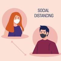 Coronavirus-Kampagne zur sozialen Distanzierung mit Personen, die Gesichtsmasken tragen vektor