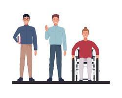 Nerd mit dünnem Mann und Mann in Rollstuhlcharakteren vektor
