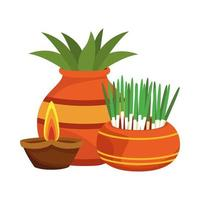 Zimmerpflanzen in Keramiktöpfen und hinduistischer Kerzendekoration vektor