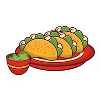 tecknad tallrik med tacos och guacamole vektor