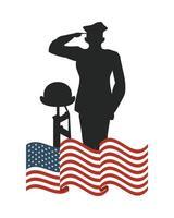 Amerikas förenta stater flagga med officer och gevär siluett vektor
