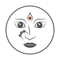 hinduiska gudinna ansikte navratri emblem vektor