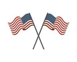 Amerikas förenta staters flaggor på korsade stolpar vektor