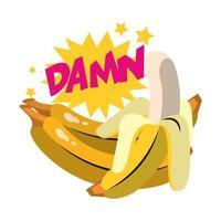 popkonst design av banan frukt ikon och jävla ord uttryck vektor