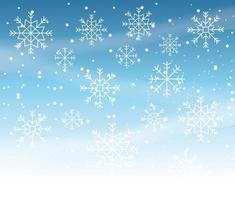 Wintersturm mit Schneeflockenszene vektor