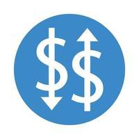 Geld-Dollar-Symbole mit Pfeilen nach oben und unten vektor