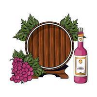 Weinflasche mit Trauben und Fass vektor