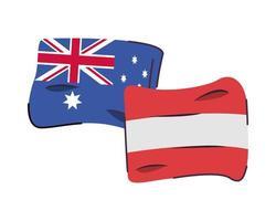 Australien und Österreich kennzeichnen isolierte Ikone vektor