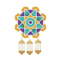 ramadan kareem gyllene lyktor som hänger i mandala vektor