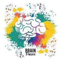 hjärnkraftaffisch med stänkande färger vektor