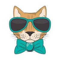 lustige Katze mit Sonnenbrille coolen Stil vektor