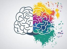 hjärnkraftmall med färgfärger vektor