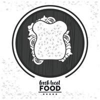 frische lokale Lebensmittelbeschriftung mit Sandwich vektor