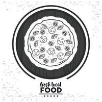 frische lokale Lebensmittelbeschriftung mit Pizza vektor