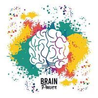 hjärnkraftmall med färgstänk vektor