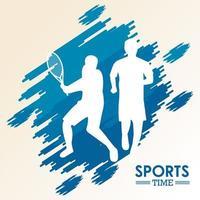 sportliche Silhouetten, die Tennis üben und laufen vektor