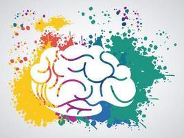 hjärnkraftmall med uppsatta färgfärger vektor